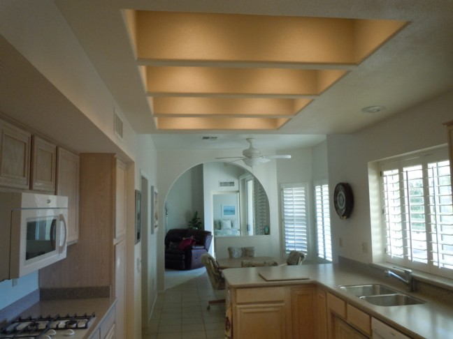 replaced popcorn ceiling and fluorescent lighting with recessed lights ...
